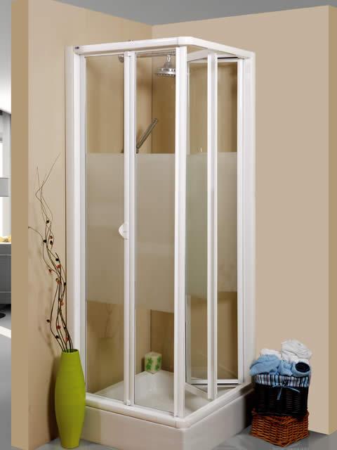 Mampara de ducha angular de 4 hojas plegables serie - Mamparas de ducha plegables ...
