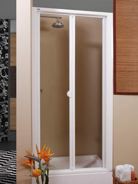 Mampara de ducha frontal 2 hojas plegables serie danubio for Hojas plegables