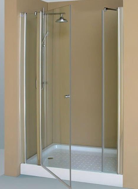 Mampara de ducha frontal de 2 hojas fijas y 1 abatible - Mamparas abatibles para ducha ...