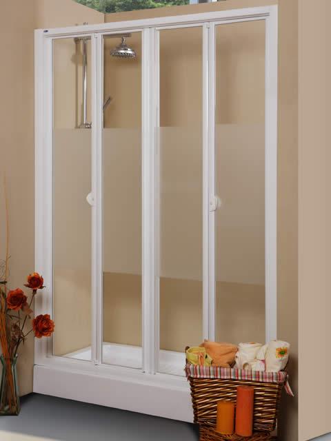 Mampara de ducha frontal de 4 hojas plegables serie - Mamparas de ducha plegables ...