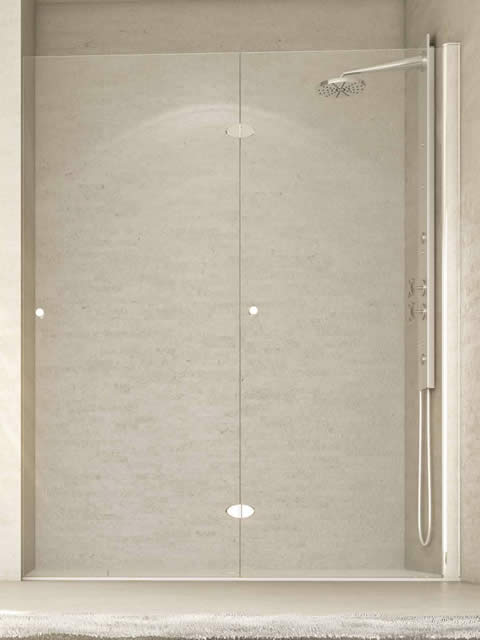 Mampara de 2 hojas plegables frontal de ducha o ba era for Hojas plegables
